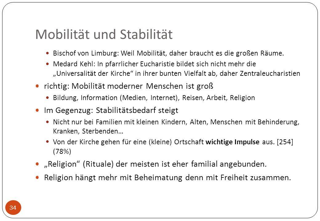 Mobilität und Stabilität 34 Bischof von Limburg: Weil Mobilität, daher braucht es die großen Räume. Medard Kehl: In pfarrlicher Eucharistie bildet sic