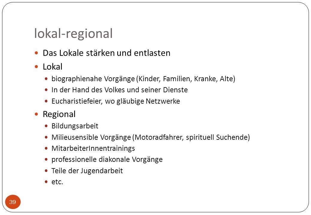 lokal-regional 39 Das Lokale stärken und entlasten Lokal biographienahe Vorgänge (Kinder, Familien, Kranke, Alte) In der Hand des Volkes und seiner Di