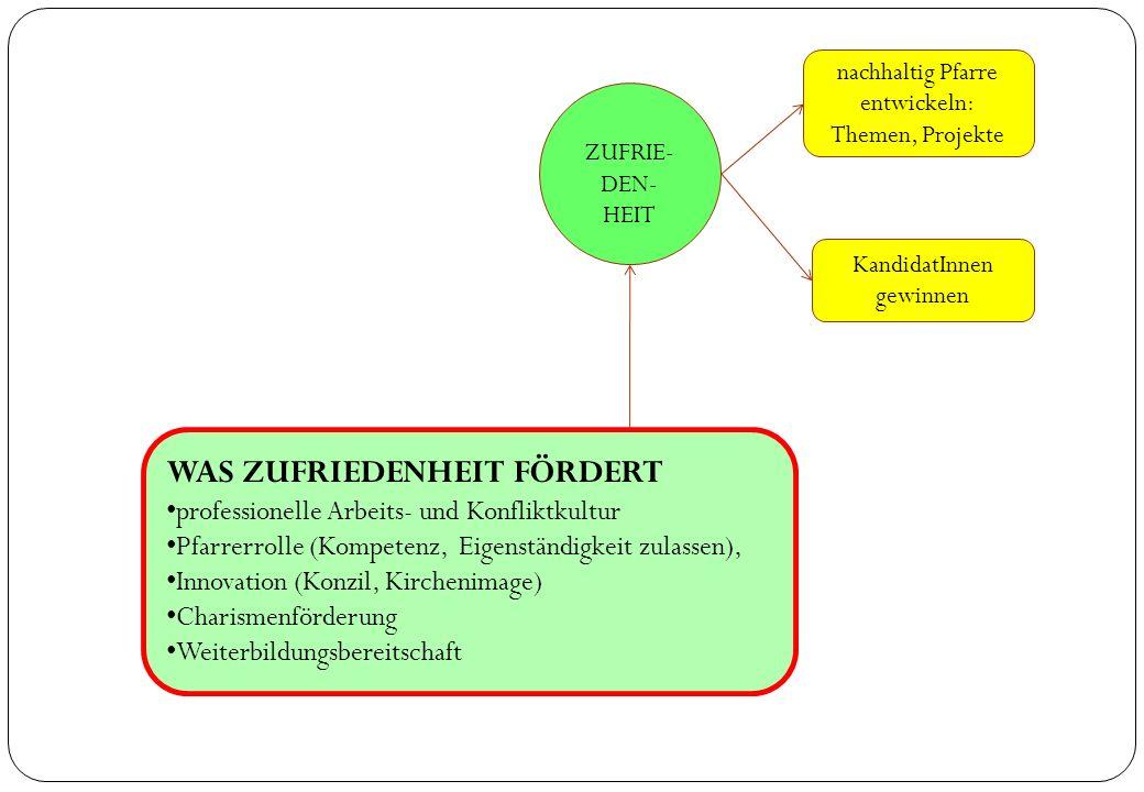 ZUFRIE- DEN- HEIT KandidatInnen gewinnen WAS ZUFRIEDENHEIT FÖRDERT professionelle Arbeits- und Konfliktkultur Pfarrerrolle (Kompetenz, Eigenständigkei