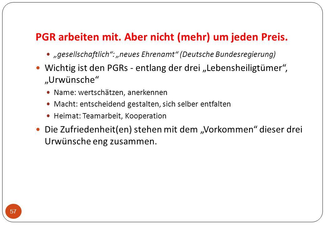 PGR arbeiten mit. Aber nicht (mehr) um jeden Preis. 57 gesellschaftlich: neues Ehrenamt (Deutsche Bundesregierung) Wichtig ist den PGRs - entlang der