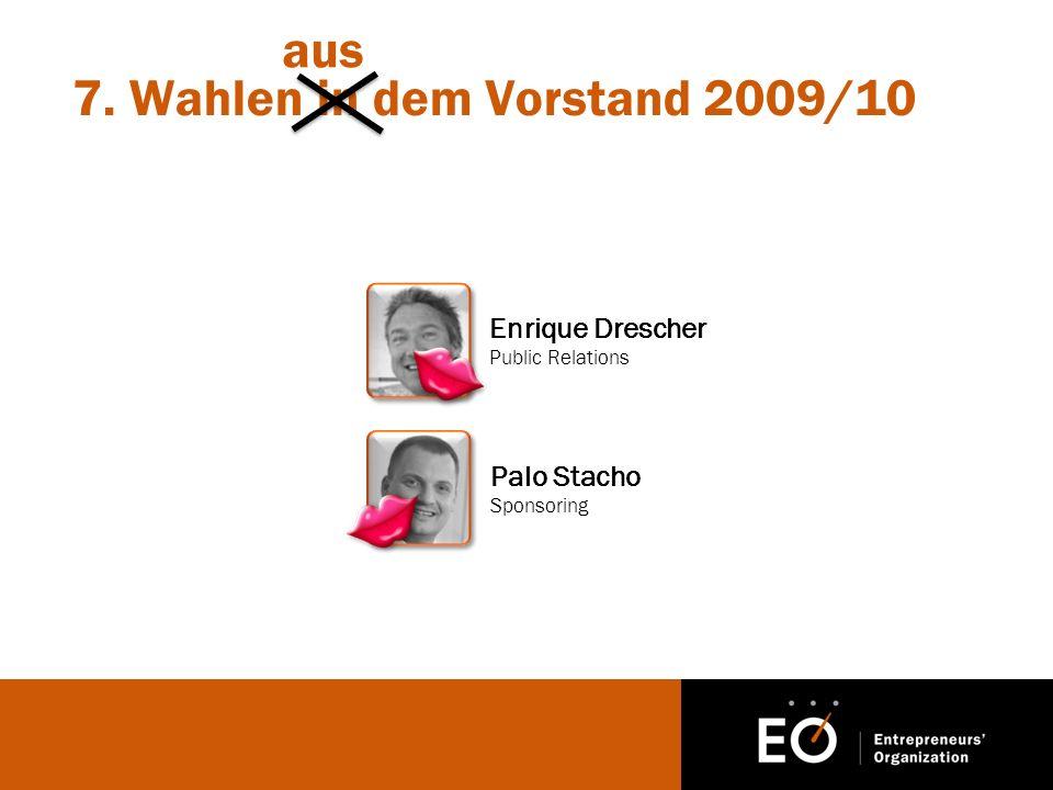 7. Wahlen in dem Vorstand 2009/10 Enrique Drescher Public Relations Palo Stacho Sponsoring aus