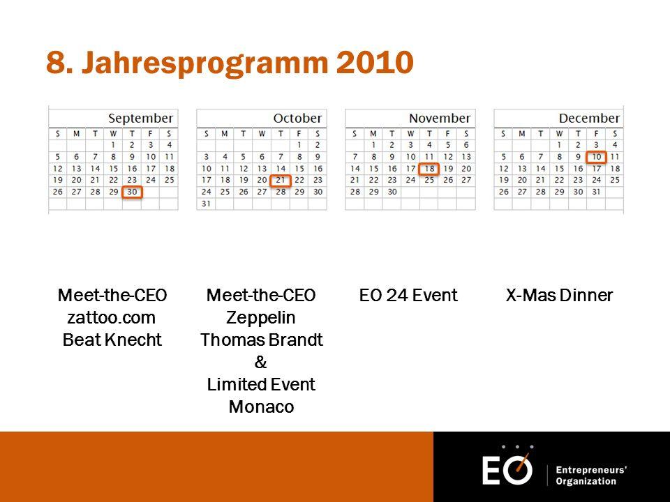 8. Jahresprogramm 2010 Meet-the-CEO zattoo.com Beat Knecht Meet-the-CEO Zeppelin Thomas Brandt & Limited Event Monaco EO 24 EventX-Mas Dinner