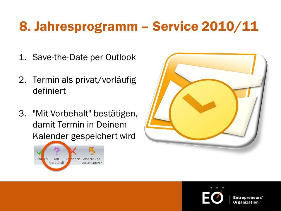 8. Jahresprogramm – Service 2010/11 1.Save-the-Date per Outlook 2.Termin als privat/vorläufig definiert 3.