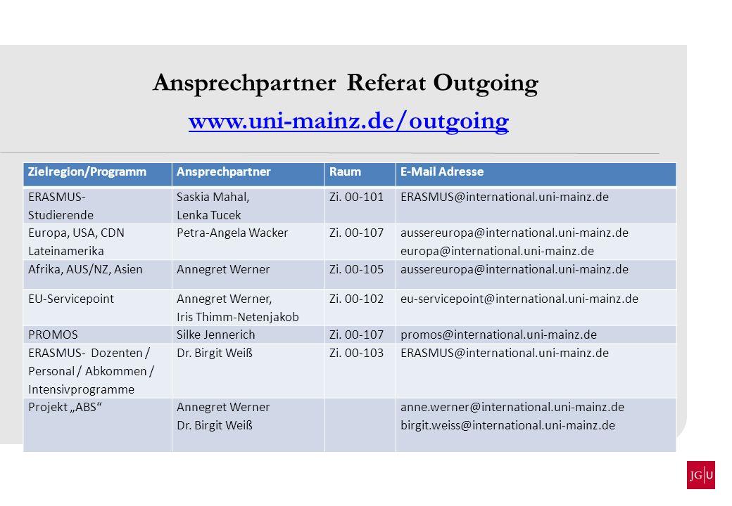 Ansprechpartner Referat Outgoing www.uni-mainz.de/outgoing Zielregion/ProgrammAnsprechpartnerRaumE-Mail Adresse ERASMUS- Studierende Saskia Mahal, Len