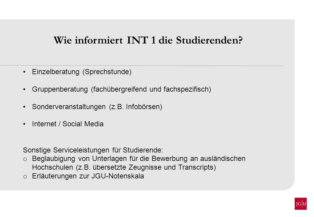 Wie informiert INT 1 die Studierenden? Einzelberatung (Sprechstunde) Gruppenberatung (fachübergreifend und fachspezifisch) Sonderveranstaltungen (z.B.