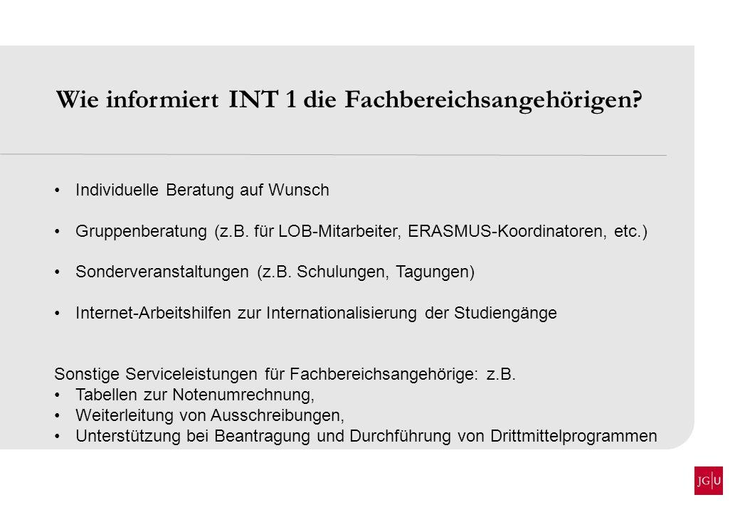 Wie informiert INT 1 die Fachbereichsangehörigen? Individuelle Beratung auf Wunsch Gruppenberatung (z.B. für LOB-Mitarbeiter, ERASMUS-Koordinatoren, e
