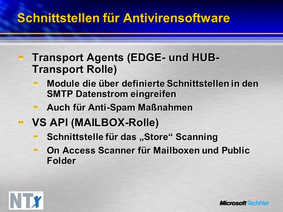 Schnittstellen für Antivirensoftware Transport Agents (EDGE- und HUB- Transport Rolle) Module die über definierte Schnittstellen in den SMTP Datenstrom eingreifen Auch für Anti-Spam Maßnahmen VS API (MAILBOX-Rolle) Schnittstelle für das Store Scanning On Access Scanner für Mailboxen und Public Folder