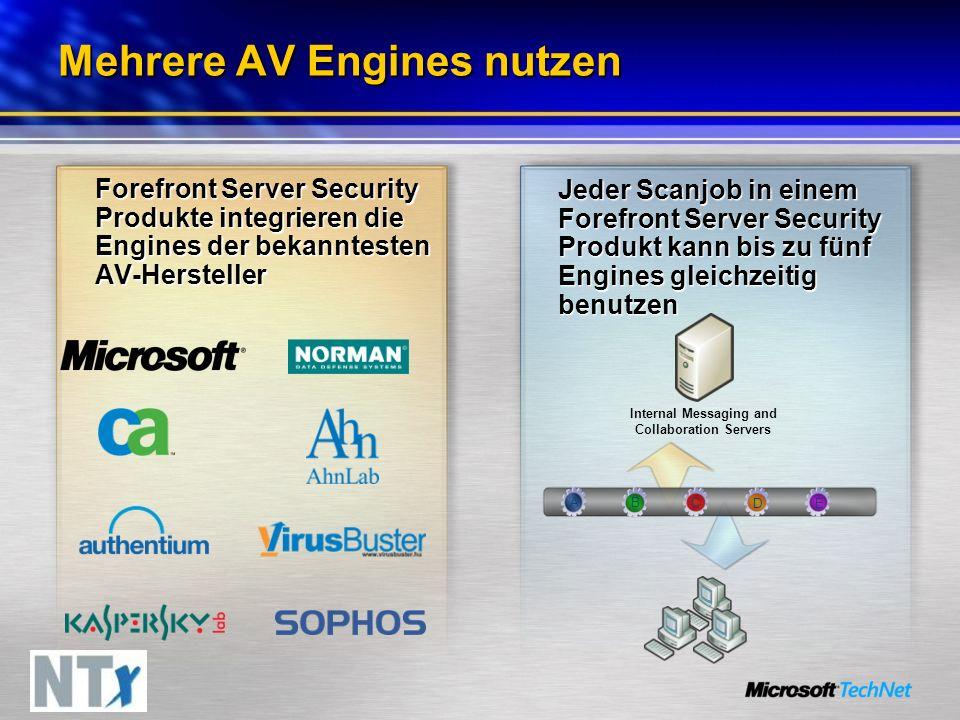 Mehrere AV Engines nutzen Forefront Server Security Produkte integrieren die Engines der bekanntesten AV-Hersteller Jeder Scanjob in einem Forefront Server Security Produkt kann bis zu fünf Engines gleichzeitig benutzen Internal Messaging and Collaboration Servers A B C E D