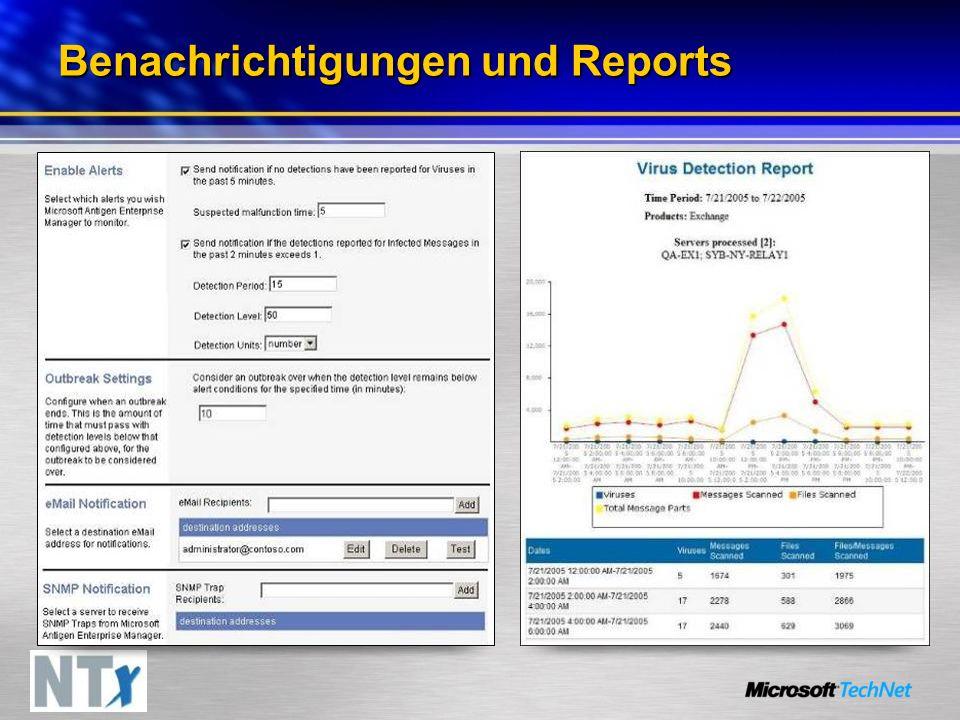 Benachrichtigungen und Reports