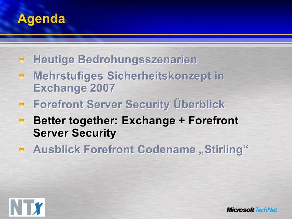 Agenda Heutige Bedrohungsszenarien Mehrstufiges Sicherheitskonzept in Exchange 2007 Forefront Server Security Überblick Better together: Exchange + Fo