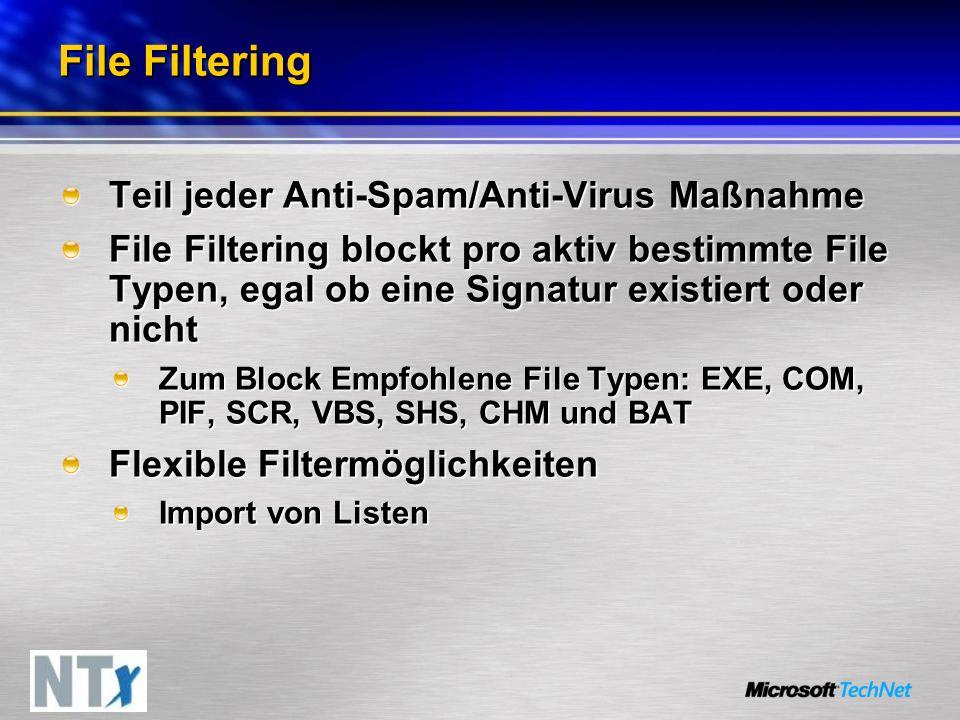 File Filtering Teil jeder Anti-Spam/Anti-Virus Maßnahme File Filtering blockt pro aktiv bestimmte File Typen, egal ob eine Signatur existiert oder nicht Zum Block Empfohlene File Typen: EXE, COM, PIF, SCR, VBS, SHS, CHM und BAT Flexible Filtermöglichkeiten Import von Listen