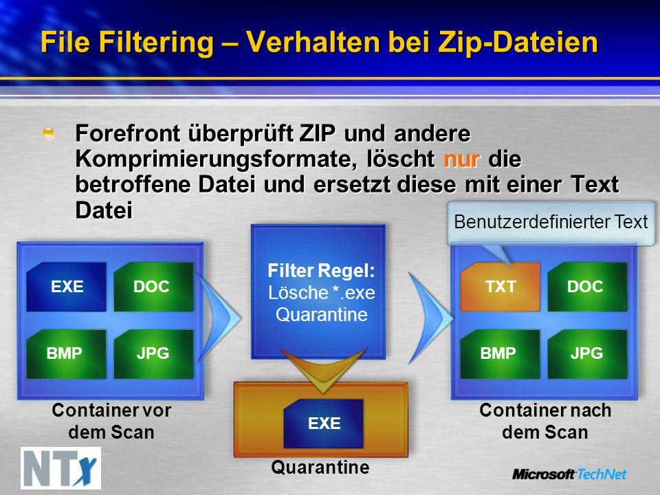 Filter Regel: Lösche *.exe Quarantine File Filtering – Verhalten bei Zip-Dateien Forefront überprüft ZIP und andere Komprimierungsformate, löscht nur die betroffene Datei und ersetzt diese mit einer Text Datei Container vor dem Scan EXEDOC JPGBMP DOC JPGBMP TXT Container nach dem Scan EXE Quarantine Benutzerdefinierter Text