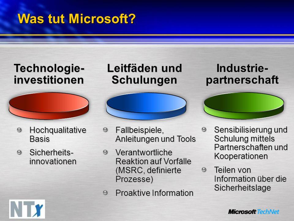 Was tut Microsoft? Technologie- investitionen Leitfäden und Schulungen Industrie- partnerschaft Hochqualitative Basis Sicherheits- innovationen Fallbe