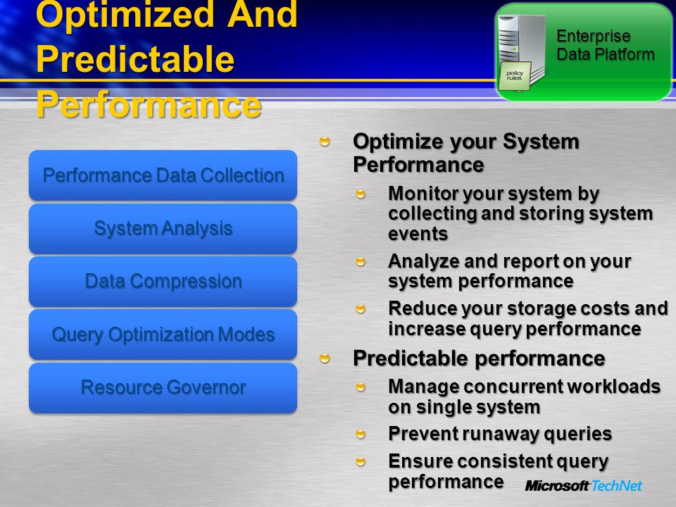 Optimized And Predictable Performance Optimize your System Performance Monitor your system by collecting and storing system events Analyze and report