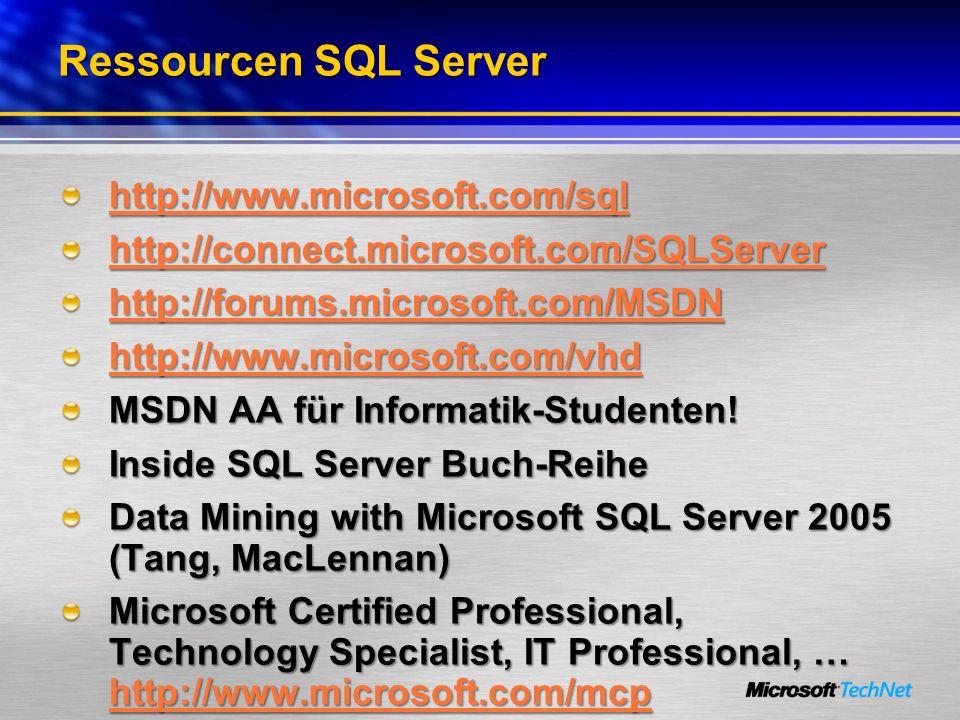 Ressourcen SQL Server http://www.microsoft.com/sql http://connect.microsoft.com/SQLServer http://connect.microsoft.com/SQLServer http://forums.microso