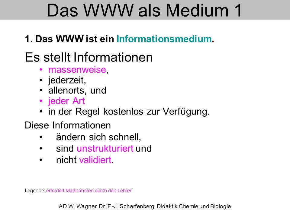 Das WWW als Medium 1 Es stellt Informationen massenweise, jederzeit, allenorts, und jeder Art in der Regel kostenlos zur Verfügung. AD W. Wagner, Dr.