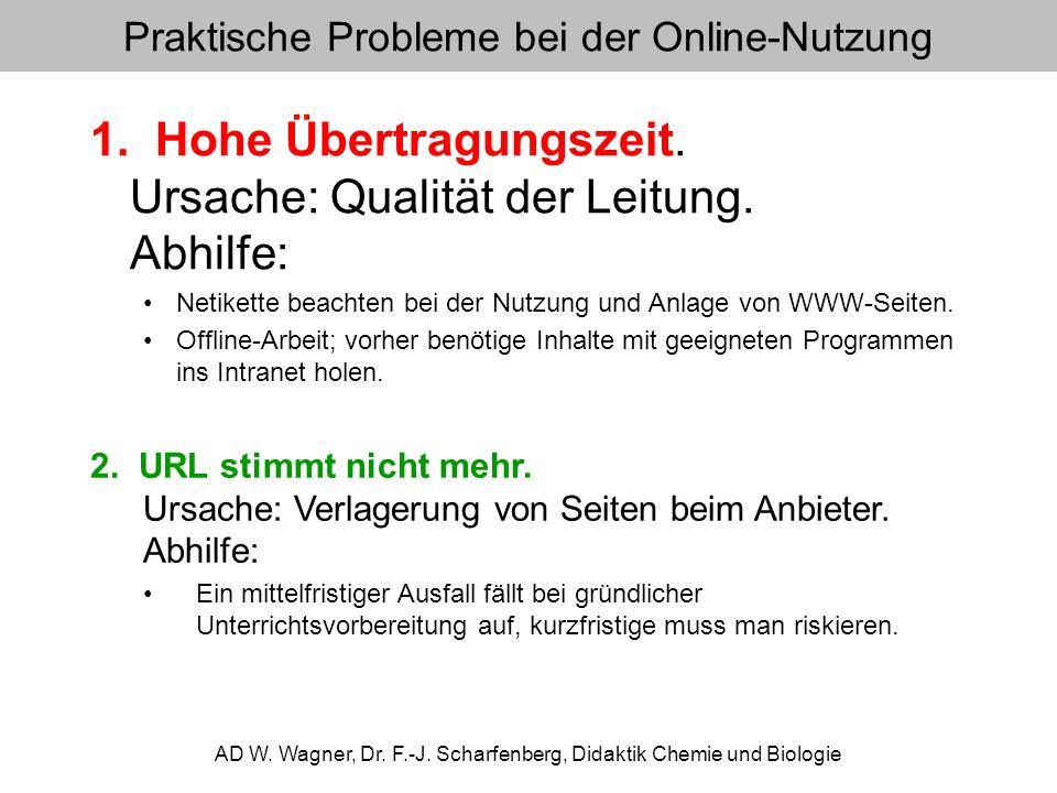 Praktische Probleme bei der Online-Nutzung 1. Hohe Übertragungszeit. Ursache: Qualität der Leitung. Abhilfe: Netikette beachten bei der Nutzung und An