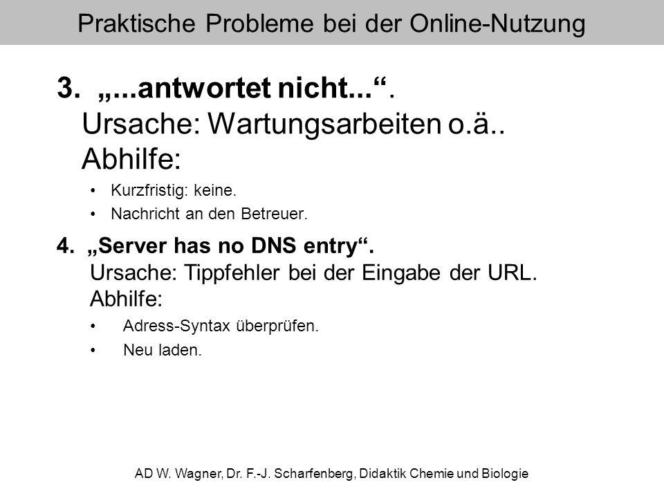 Praktische Probleme bei der Online-Nutzung 3....antwortet nicht.... Ursache: Wartungsarbeiten o.ä.. Abhilfe: Kurzfristig: keine. Nachricht an den Betr