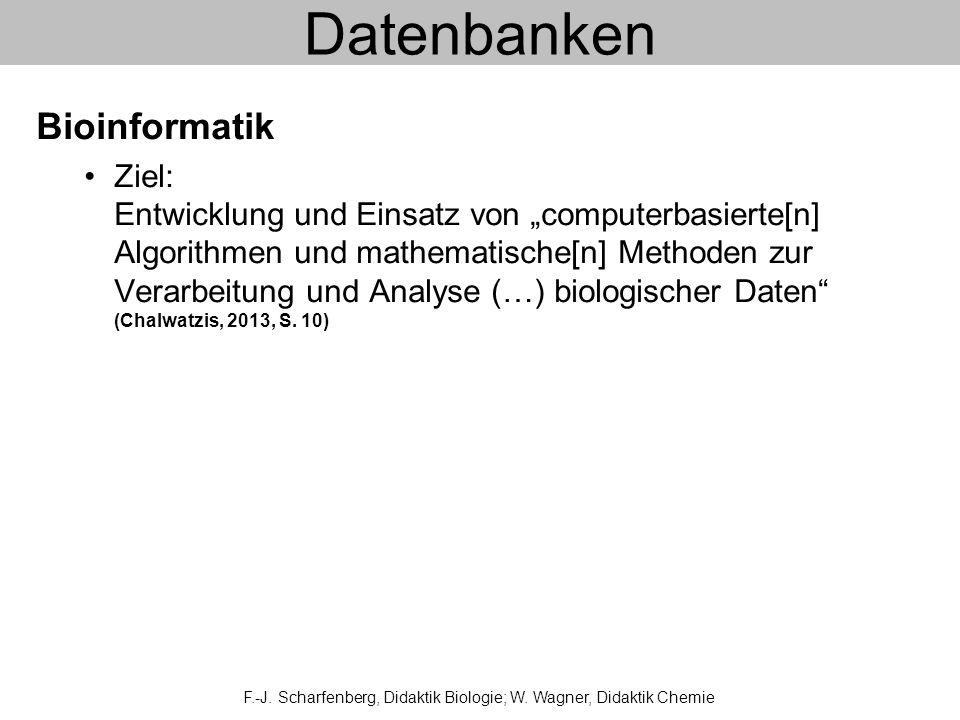 Datenbanken Bioinformatik Ziel: Entwicklung und Einsatz von computerbasierte[n] Algorithmen und mathematische[n] Methoden zur Verarbeitung und Analyse (…) biologischer Daten (Chalwatzis, 2013, S.
