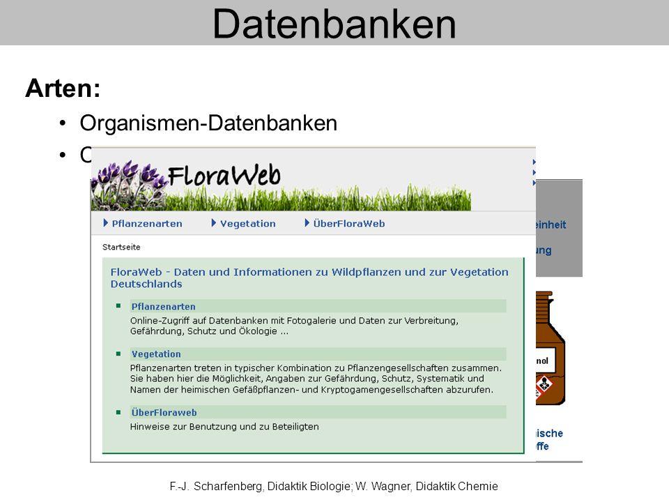 Datenbanken F.-J. Scharfenberg, Didaktik Biologie; W. Wagner, Didaktik Chemie Arten: Organismen-Datenbanken Chemikalien-Datenbanken