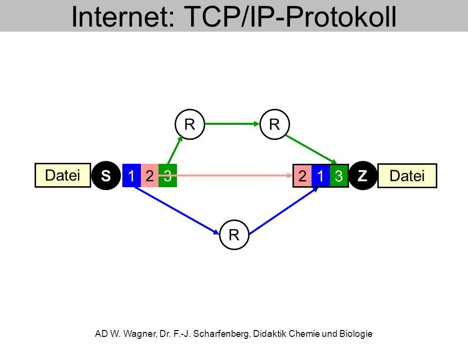Internet: TCP/IP-Protokoll AD W. Wagner, Dr. F.-J. Scharfenberg, Didaktik Chemie und Biologie RR R ZS 123123 Datei 123
