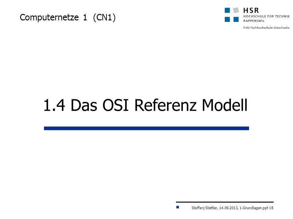 Steffen/Stettler, 14.09.2013, 1-Grundlagen.ppt 18 Computernetze 1 (CN1) 1.4 Das OSI Referenz Modell