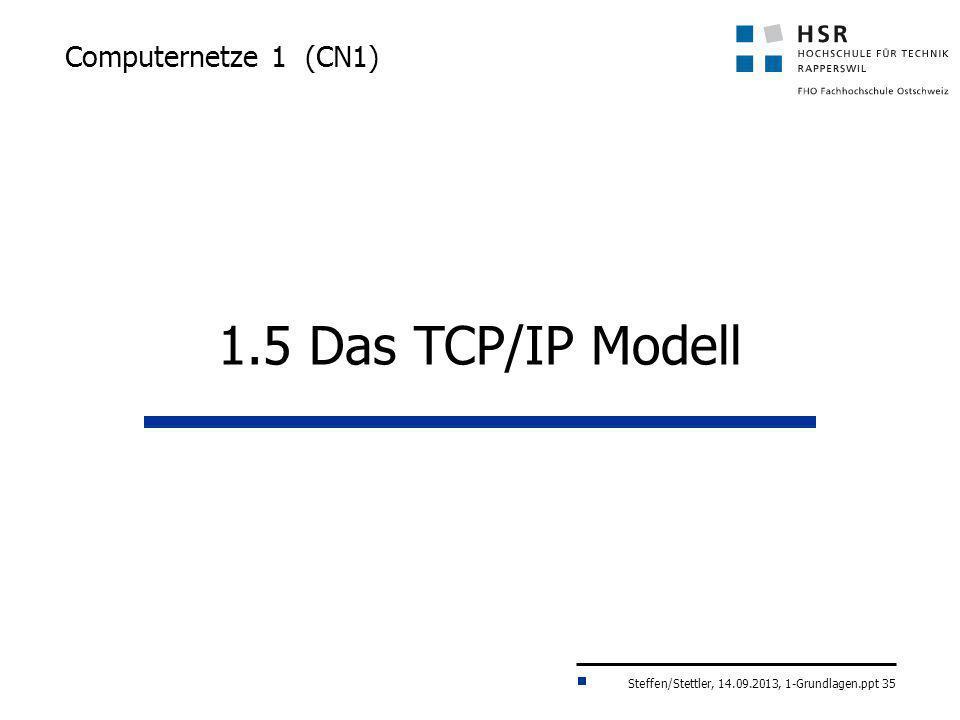 Steffen/Stettler, 14.09.2013, 1-Grundlagen.ppt 35 Computernetze 1 (CN1) 1.5 Das TCP/IP Modell