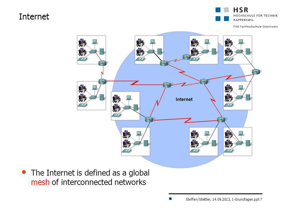 Steffen/Stettler, 14.09.2013, 1-Grundlagen.ppt 7 Internet The Internet is defined as a global mesh of interconnected networks