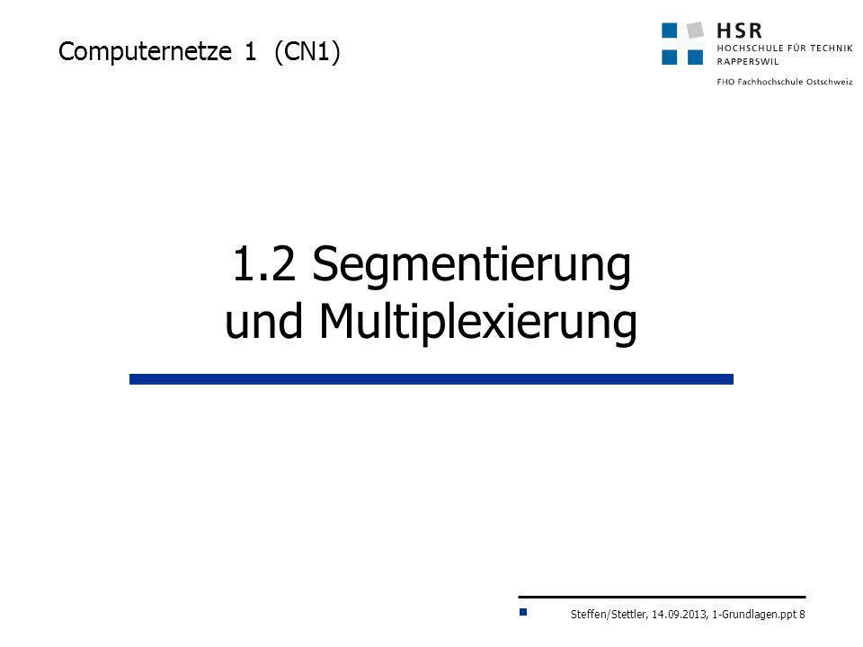 Steffen/Stettler, 14.09.2013, 1-Grundlagen.ppt 8 Computernetze 1 (CN1) 1.2 Segmentierung und Multiplexierung