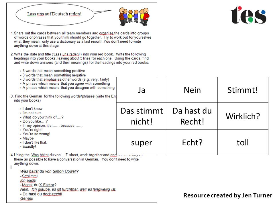 Resource created by Jen Turner JaNeinStimmt.Das stimmt nicht.