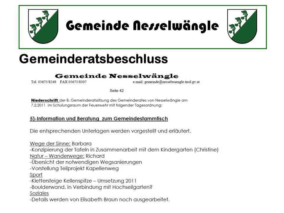 Gemeinde Nesselwängle Gemeinderatsbeschluss