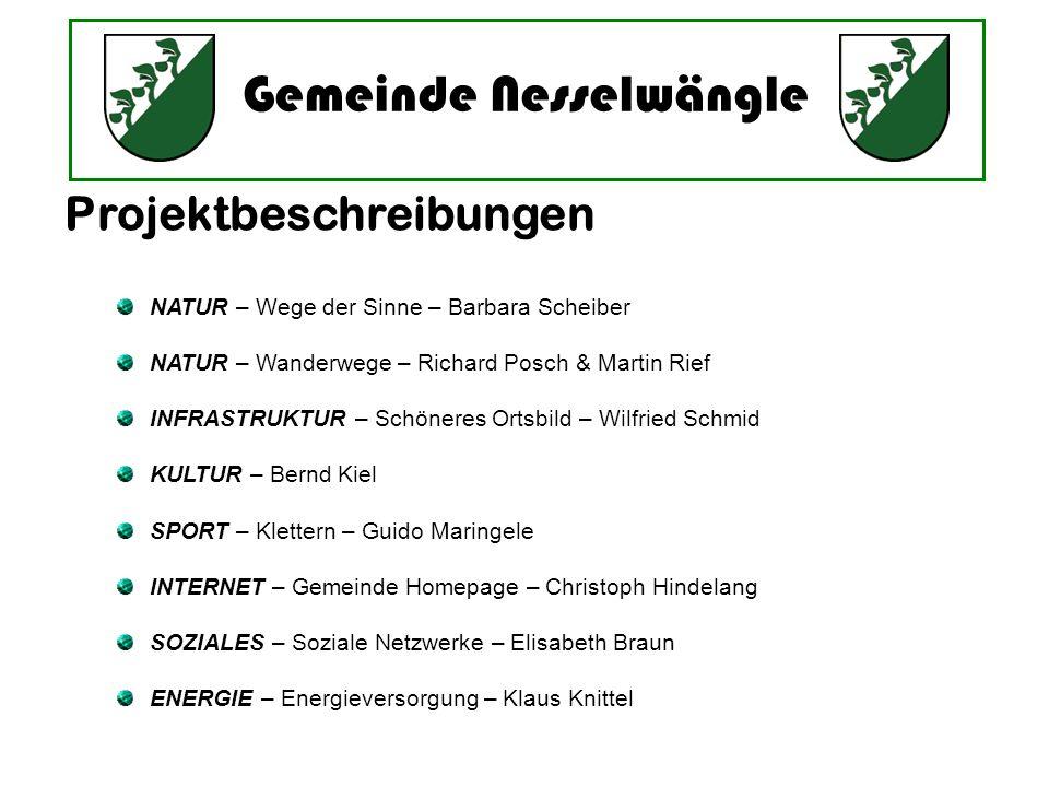 Gemeinde Nesselwängle NATUR – Wege der Sinne – Barbara Scheiber NATUR – Wanderwege – Richard Posch & Martin Rief INFRASTRUKTUR – Schöneres Ortsbild –