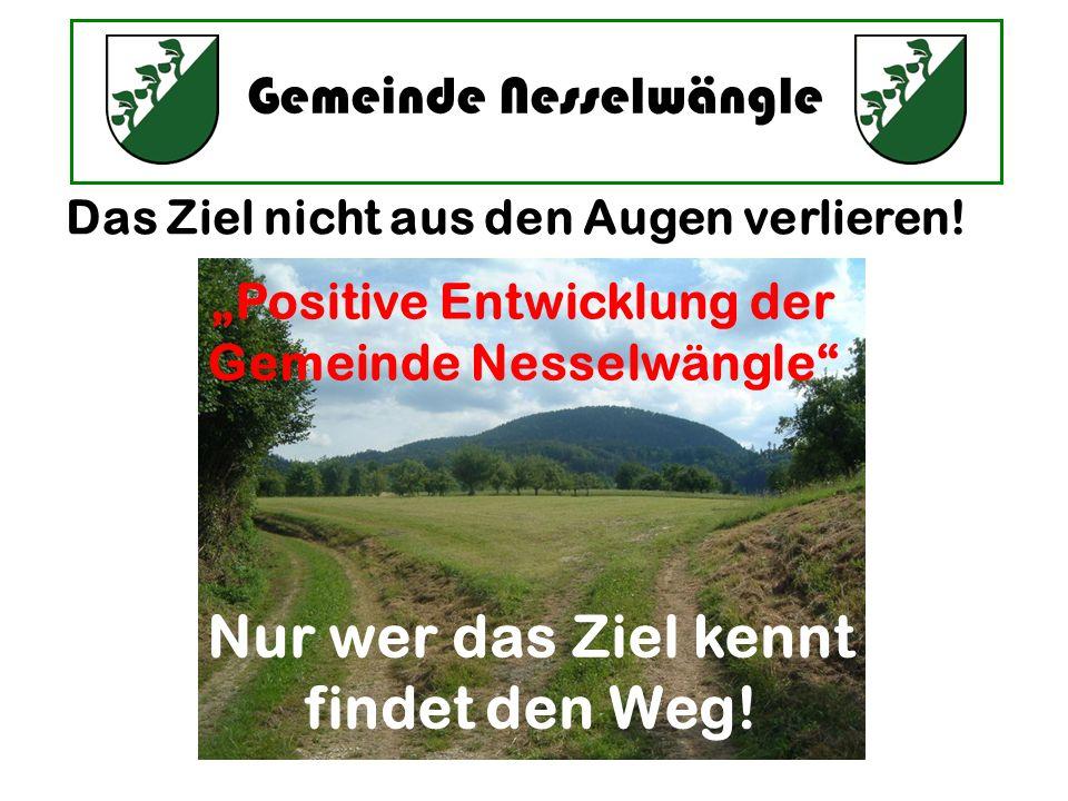 Gemeinde Nesselwängle Das Ziel nicht aus den Augen verlieren! Nur wer das Ziel kennt findet den Weg! Positive Entwicklung der Gemeinde Nesselwängle
