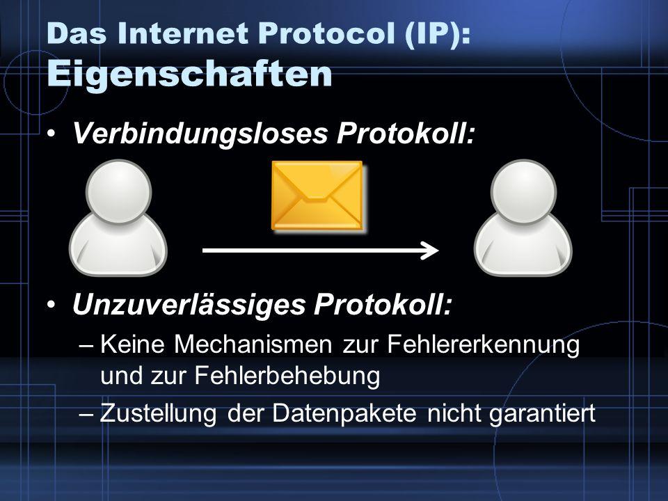 Das Internet Protocol (IP): Eigenschaften Verbindungsloses Protokoll: Unzuverlässiges Protokoll: –Keine Mechanismen zur Fehlererkennung und zur Fehler