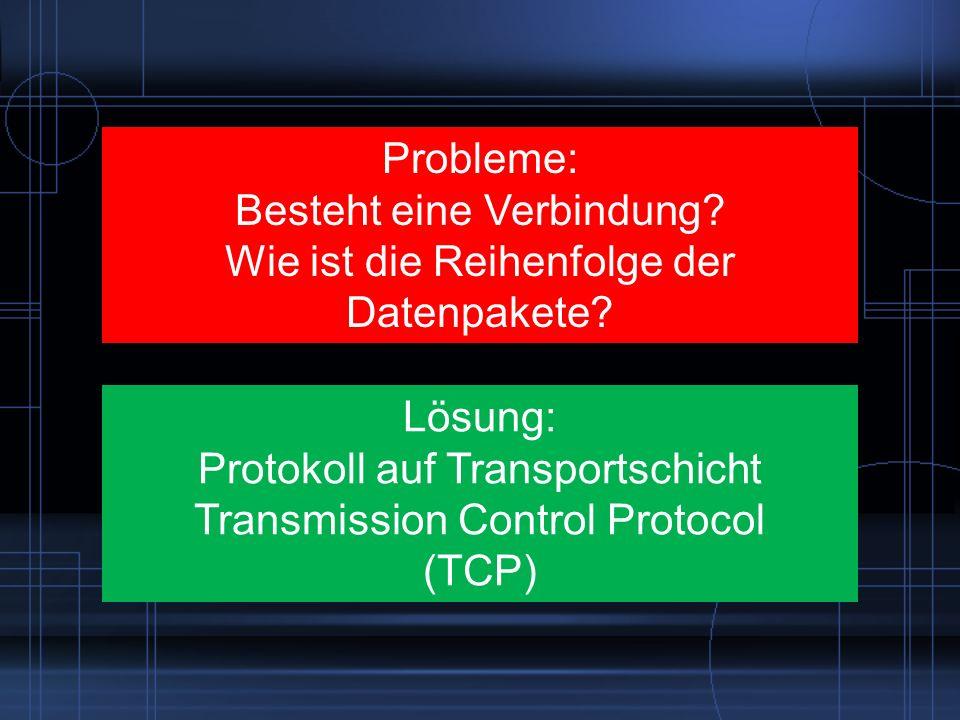 Probleme: Besteht eine Verbindung? Wie ist die Reihenfolge der Datenpakete? Lösung: Protokoll auf Transportschicht Transmission Control Protocol (TCP)