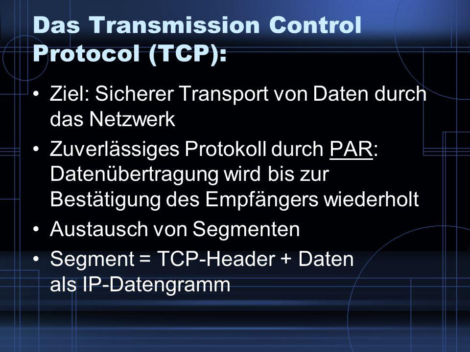 Das Transmission Control Protocol (TCP): Ziel: Sicherer Transport von Daten durch das Netzwerk Zuverlässiges Protokoll durch PAR: Datenübertragung wir