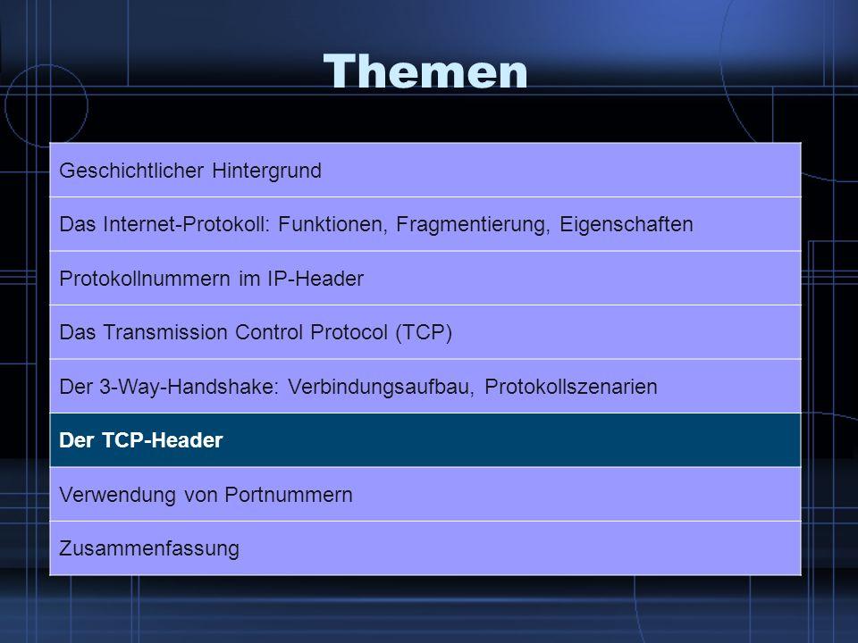 Themen Geschichtlicher Hintergrund Das Internet-Protokoll: Funktionen, Fragmentierung, Eigenschaften Protokollnummern im IP-Header Das Transmission Co