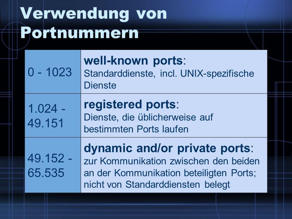 Verwendung von Portnummern 0 - 1023 well-known ports: Standarddienste, incl. UNIX-spezifische Dienste 1.024 - 49.151 registered ports: Dienste, die üb