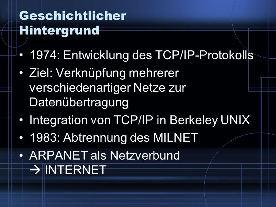Geschichtlicher Hintergrund 1974: Entwicklung des TCP/IP-Protokolls Ziel: Verknüpfung mehrerer verschiedenartiger Netze zur Datenübertragung Integrati