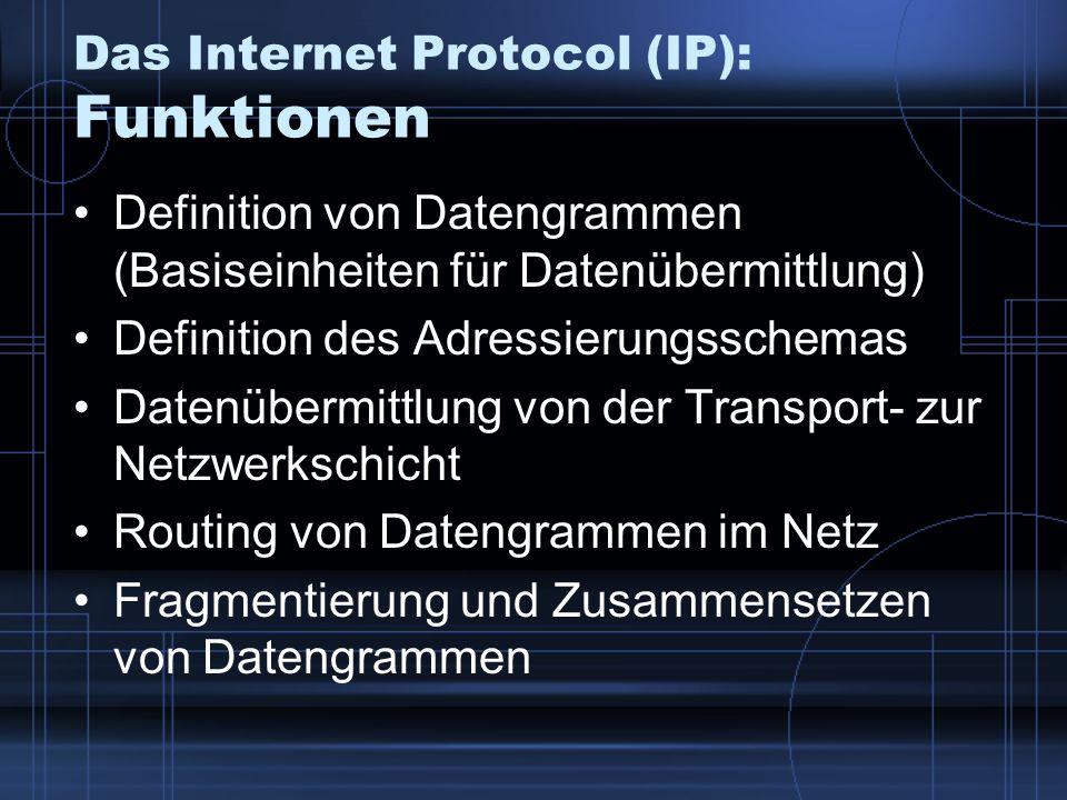 Das Internet Protocol (IP): Funktionen Definition von Datengrammen (Basiseinheiten für Datenübermittlung) Definition des Adressierungsschemas Datenübe