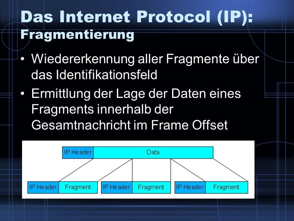 Das Internet Protocol (IP): Fragmentierung Wiedererkennung aller Fragmente über das Identifikationsfeld Ermittlung der Lage der Daten eines Fragments