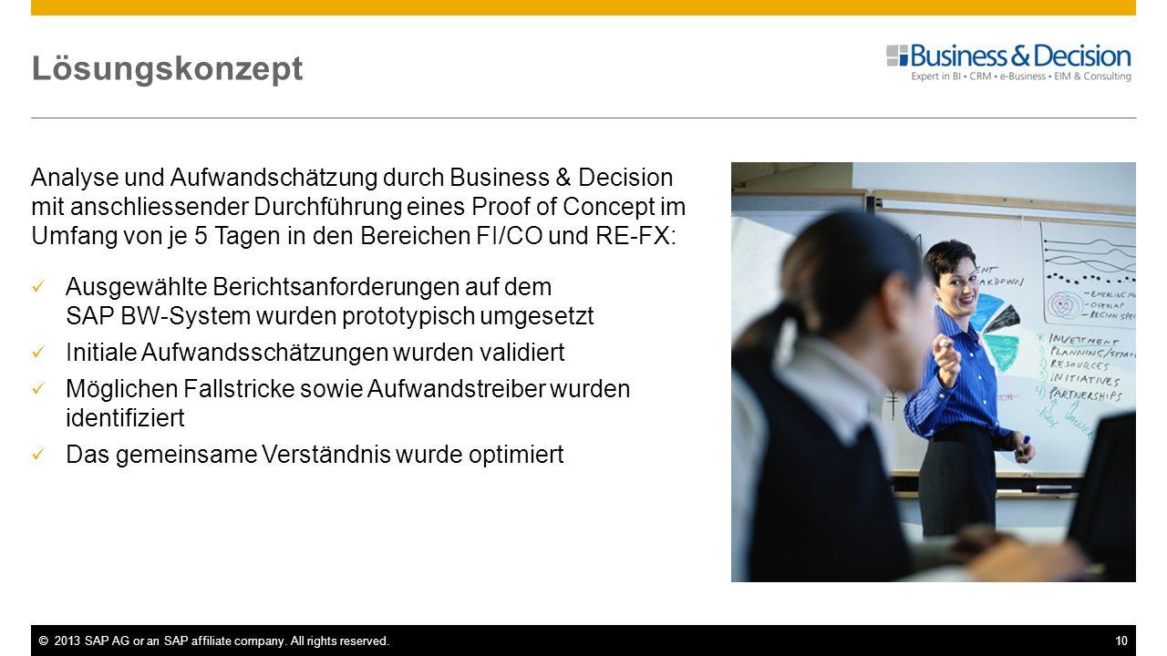 ©2013 SAP AG or an SAP affiliate company. All rights reserved.10 Lösungskonzept Analyse und Aufwandschätzung durch Business & Decision mit anschliesse