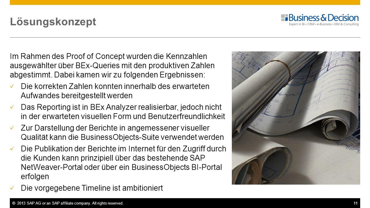 ©2013 SAP AG or an SAP affiliate company. All rights reserved.11 Lösungskonzept Im Rahmen des Proof of Concept wurden die Kennzahlen ausgewählter über