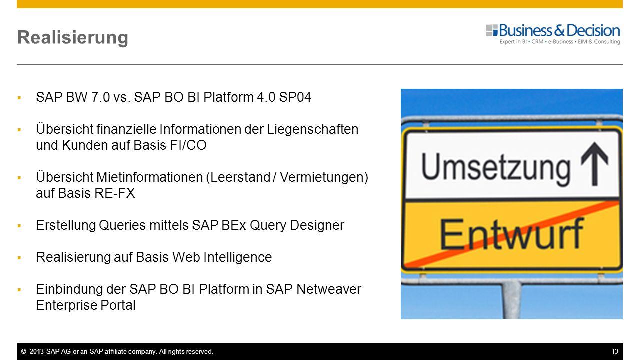 ©2013 SAP AG or an SAP affiliate company. All rights reserved.13 Realisierung SAP BW 7.0 vs. SAP BO BI Platform 4.0 SP04 Übersicht finanzielle Informa