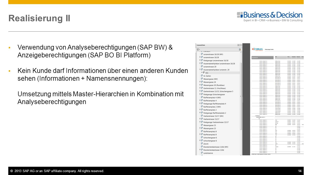 ©2013 SAP AG or an SAP affiliate company. All rights reserved.14 Realisierung II Verwendung von Analyseberechtigungen (SAP BW) & Anzeigeberechtigungen