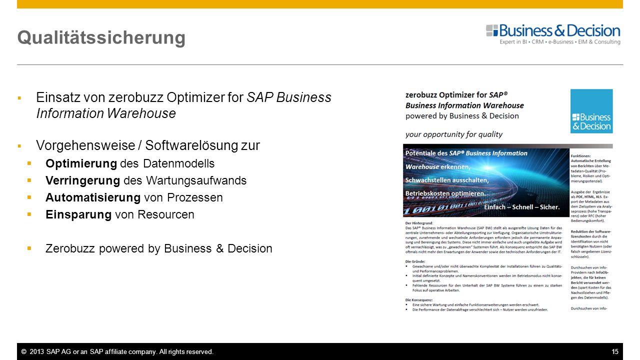 ©2013 SAP AG or an SAP affiliate company. All rights reserved.15 Qualitätssicherung Einsatz von zerobuzz Optimizer for SAP Business Information Wareho