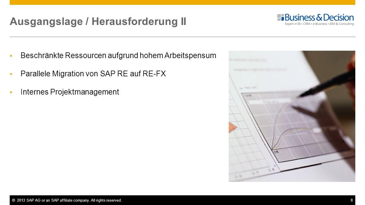 ©2013 SAP AG or an SAP affiliate company. All rights reserved.8 Ausgangslage / Herausforderung II Beschränkte Ressourcen aufgrund hohem Arbeitspensum