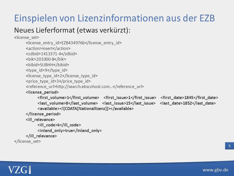 Aktueller Stand: Einfaches Auslieferungsformat Übernahme des EZB-Links in das Exemplar mit Bibliotheks-ID [0084 ] ub braunschweig 7001 29-07-12 : b 7133 =A http://www.bibliothek.uni-regensburg.de/ezeit/ 2674221&bibid=TUBS 7901 29-07-12; ezb2bib/1999 8600 OLR-EZB 7800 1315159406http://www.bibliothek.uni-regensburg.de/ezeit/ 2674221&bibid=TUBS Nachteil: Keine auswertbare Lizenzinformation 4