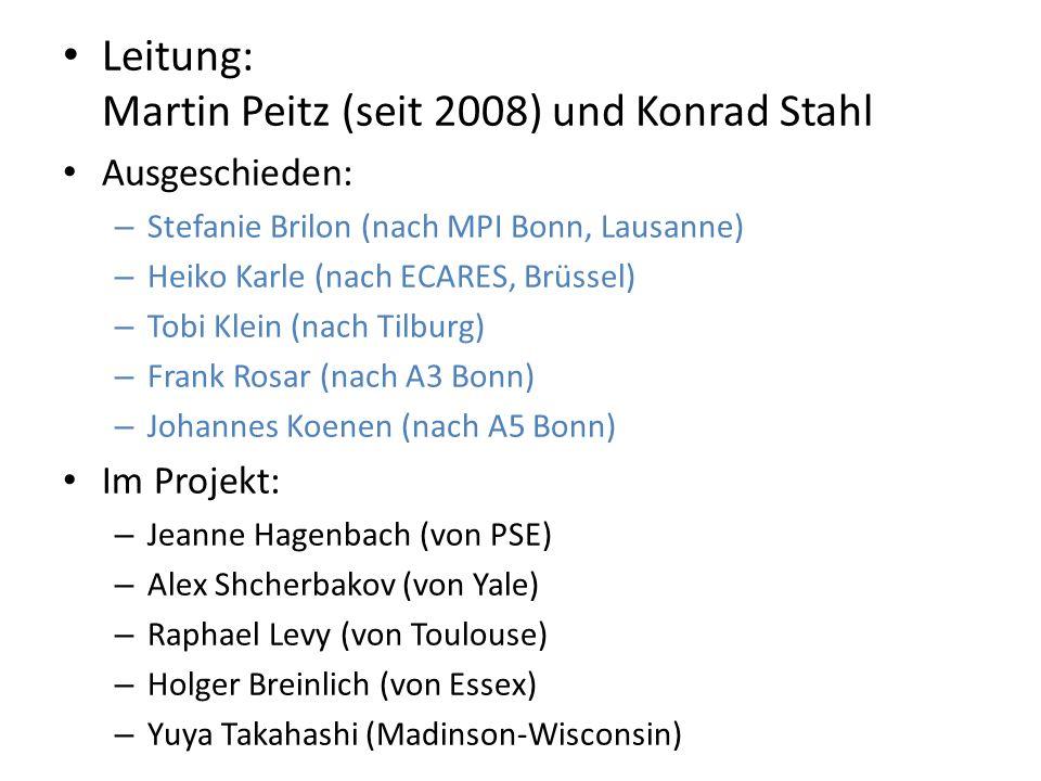 Leitung: Martin Peitz (seit 2008) und Konrad Stahl Ausgeschieden: – Stefanie Brilon (nach MPI Bonn, Lausanne) – Heiko Karle (nach ECARES, Brüssel) – Tobi Klein (nach Tilburg) – Frank Rosar (nach A3 Bonn) – Johannes Koenen (nach A5 Bonn) Im Projekt: – Jeanne Hagenbach (von PSE) – Alex Shcherbakov (von Yale) – Raphael Levy (von Toulouse) – Holger Breinlich (von Essex) – Yuya Takahashi (Madinson-Wisconsin)