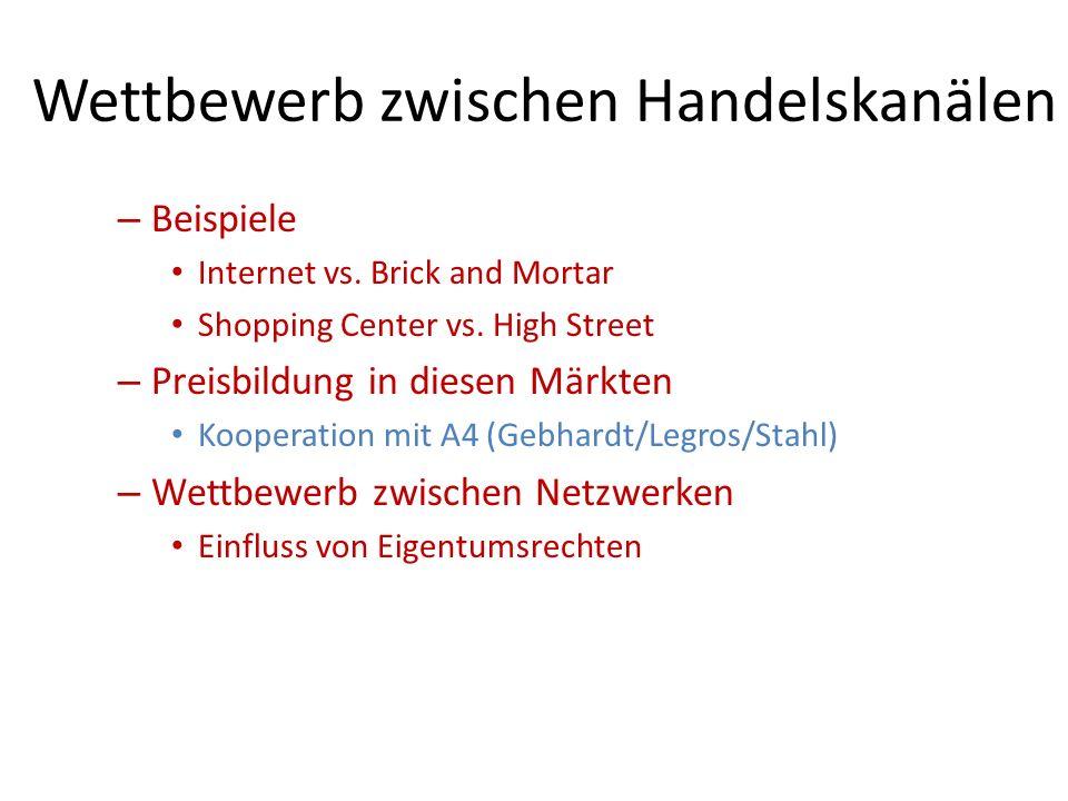 Wettbewerb zwischen Handelskanälen – Beispiele Internet vs.